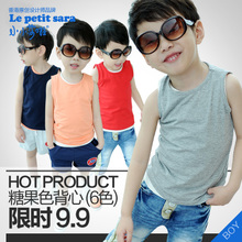 Little Kids' Lufthansa Rights vest 2013 summer models boys and girls wild cotton candy colored underwear bottoming shirt