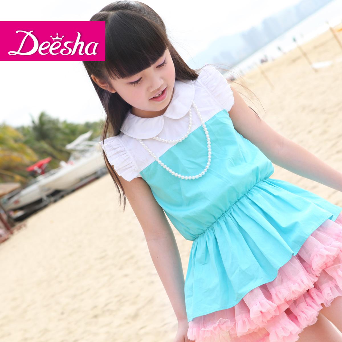 笛莎童装2013年夏季新款甜美气质儿童公主中大童短袖衬衫女童衬衫