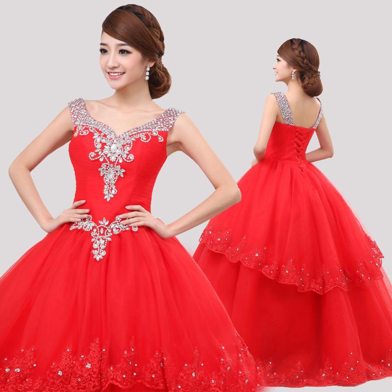 2013最新款婚纱 韩版甜美公主蓬蓬裙婚纱 韩式齐地V领婚纱礼服
