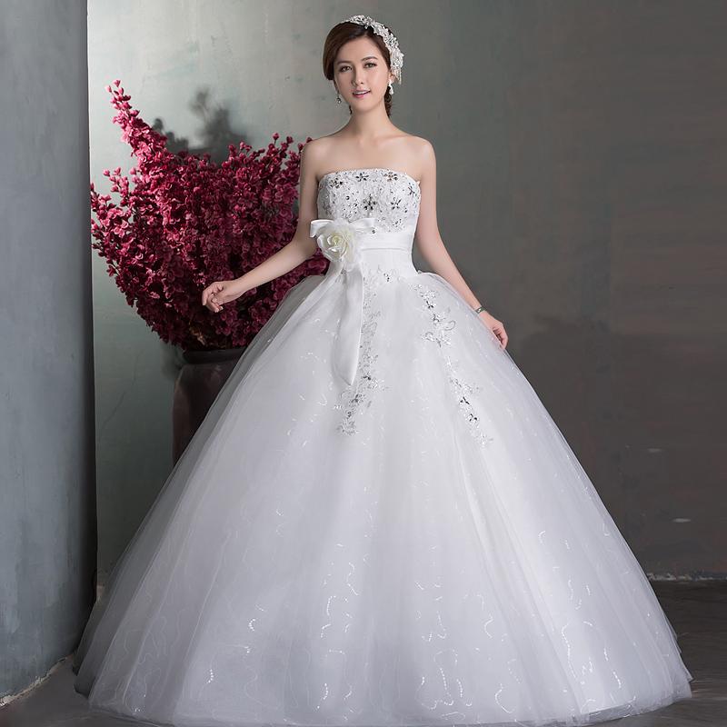 婚纱2013新款 韩版性感抹胸公主新娘结婚齐地婚礼复古女婚纱 大码
