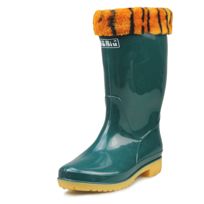 Kai China Moluccas cotton rain boots tendon at the end of the tube wear-resistant rubber boots and waterproof boots warm water shoes overshoes work