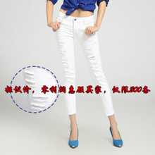 2013 Spring and Autumn Korean version of the female feet hole jeans pants stretch pencil pants were thin wave white