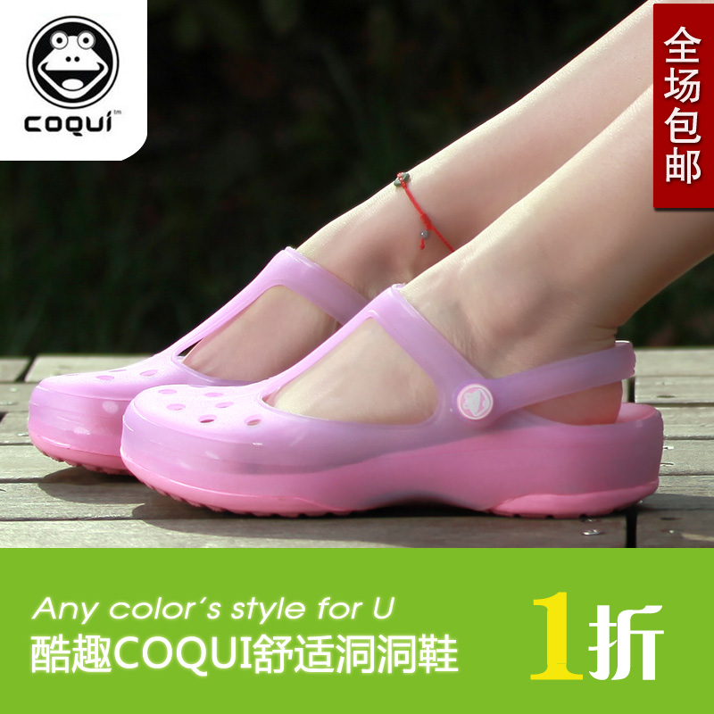Cool fun summer beach color printing hole Mary Jane shoes women shoes Sandals flat with garden flat jelly shoes