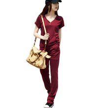 Summer Korean women big yards short sleeve sweater Slim was thin track suit leisure suit sportswear thin cotton