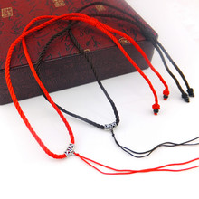 Gold silver jade jade necklace pendant hang rope red cord rope wholesale (plus Tibetan silver clasp)