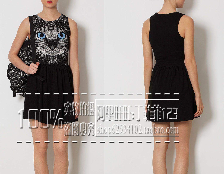 Женское платье Оригинальный сингл Британской закупочной агентство продает топшоп\асос милый кот лицо с высокой талией юбка пачка платье
