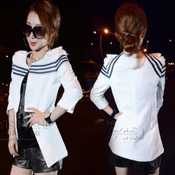 Slim suit jacket white stripes stitching