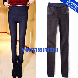 Western style dark blue thick fur pocket skinny leggings
