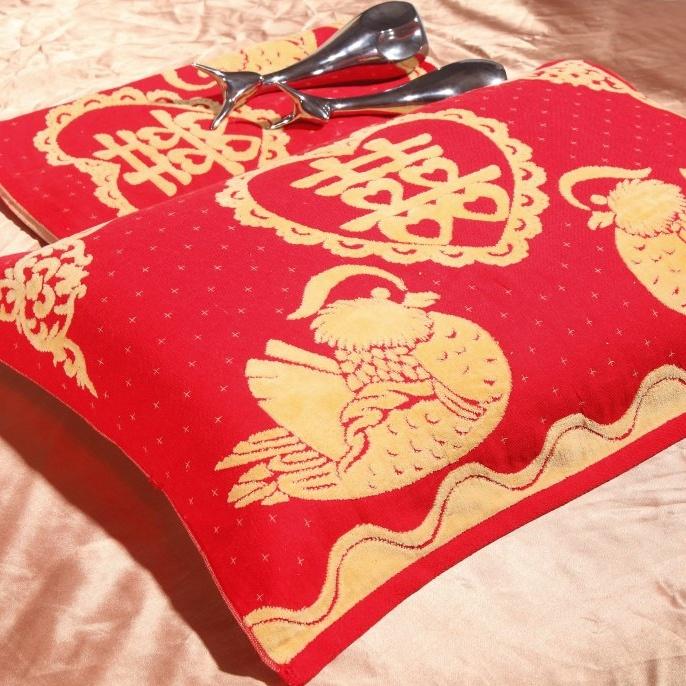 包邮!帮瑞家纺纯棉婚庆大红枕巾 全棉床上用品单件 枕头巾 BH