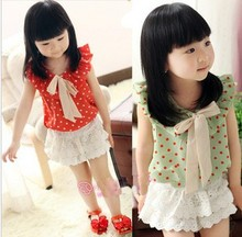 2013 summer children suit children's clothing girls chiffon T-shirt short-sleeve cotton hakama pants lace skirt