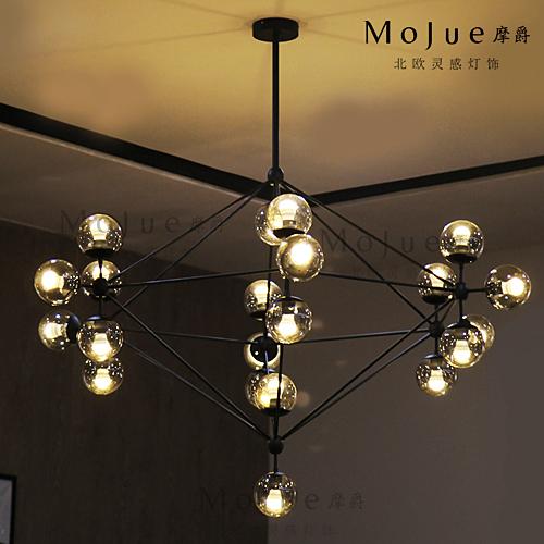 摩爵modo魔豆吊灯客厅餐厅卧室新北欧创意dna分子玻璃led吊灯特价图片