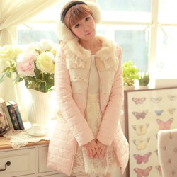 Womens sweet rabbit fur lace stitching lapel coat