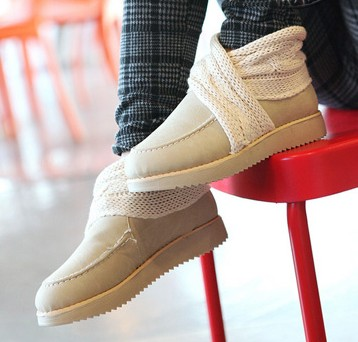 туфли Новый Golden Delicious японский милый скрыть вязание элегантные ткани шерсть рот толстым дном одной женские туфли , ботинки отдыха Танкетка Искусственная кожа