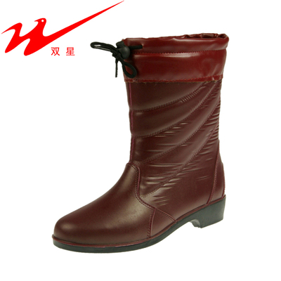 Genuine binary fashion winter boots lined hairy female models plus cotton warm waterproof boots boots-in-tube rubber boots