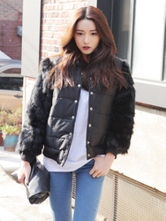 Four korean style retro college stylenanda locomotive style fur coat short sleeve stitching