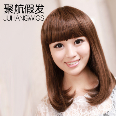 Fashion female wig wig bag inside pear head and long straight hair wig Liu Qi Xiu face girl