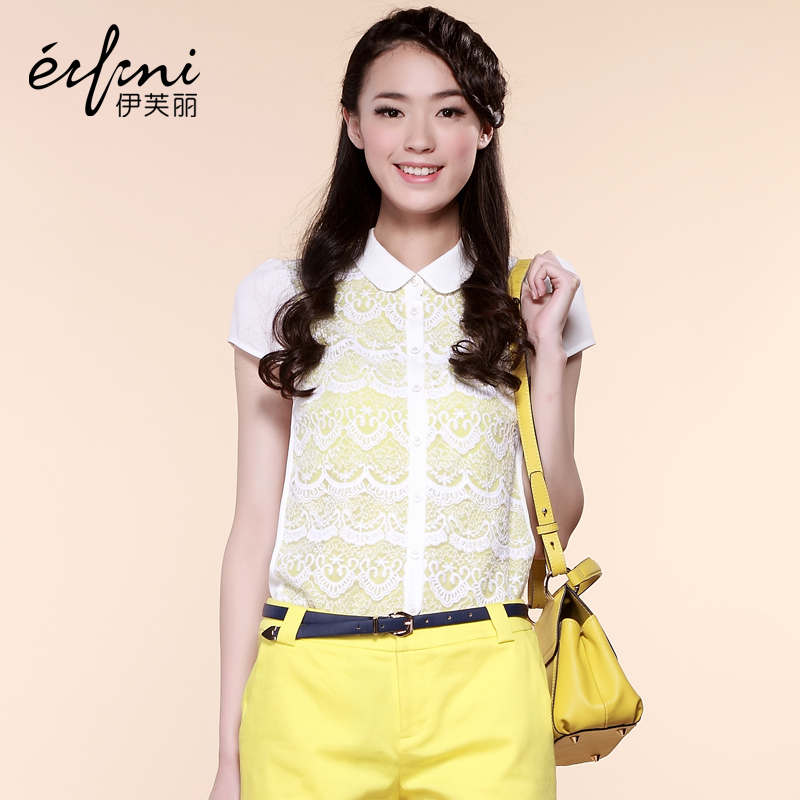 2013 new women lace chiffon shirt