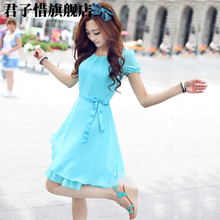 2013 summer new women's summer chiffon dress Korean version of Slim was thin short-sleeved dress skirt sweet