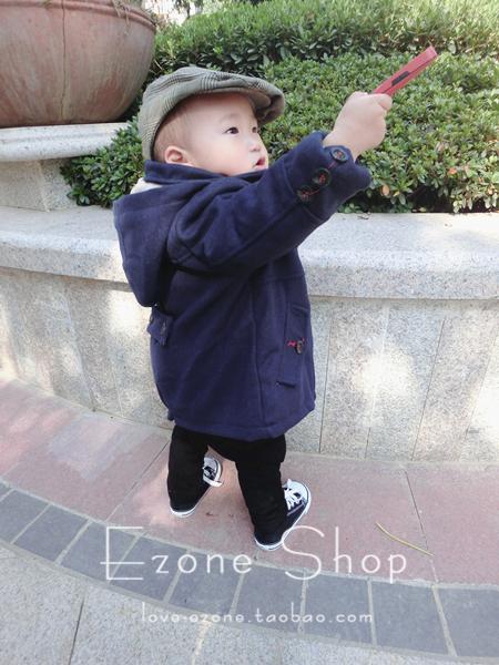 Пальто детское [ezone]佐佐家 春款原单男宝宝童装双排扣呢子大衣夹棉风衣外套 Унисекс