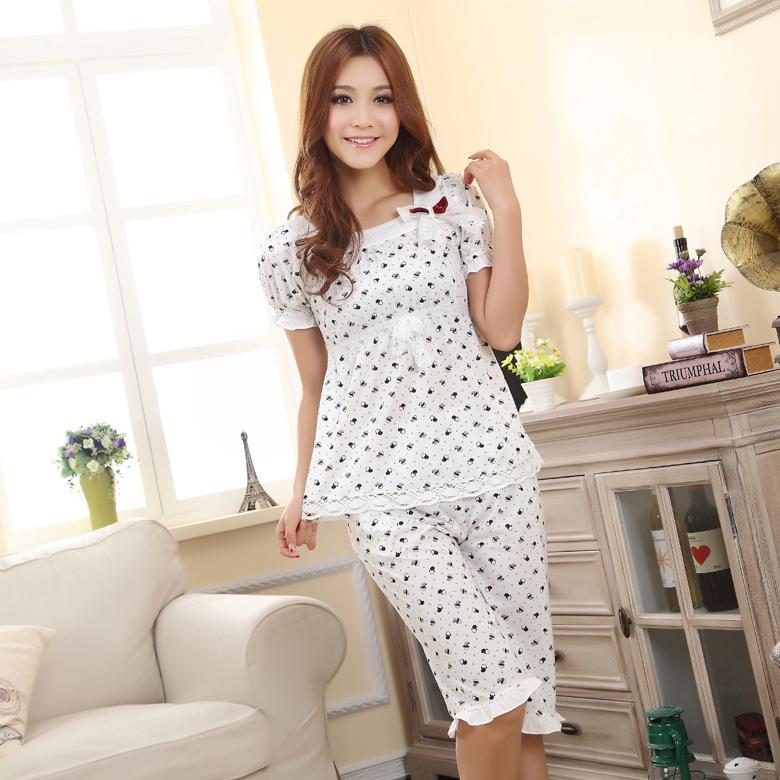 Пижама Специальные летние Корейский дом платье милый мультфильм женский летом хлопок цельный пижамы пижамы домашняя одежда
