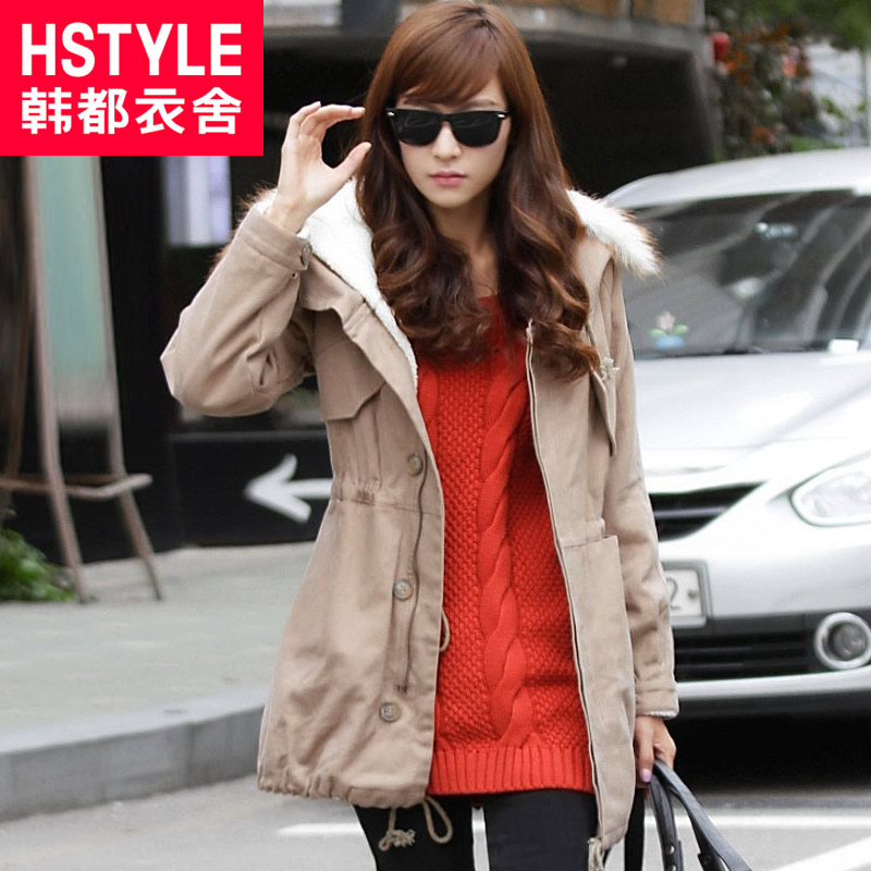 Korean clothing care Korea 2012 winter collection new hooded dress solid color thick fur collar coat JZ1080 a kind of jade