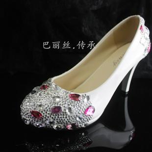 赞手工订制完美水钻白色厚底防水台闪钻结婚鞋高跟鞋伴娘鞋夜店鞋