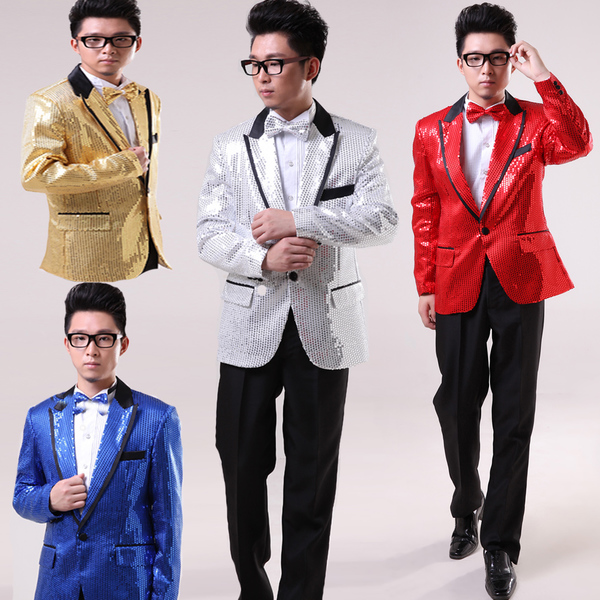 Men dress costumes dress suit male Korean Slim sequined suits men's wedding dress