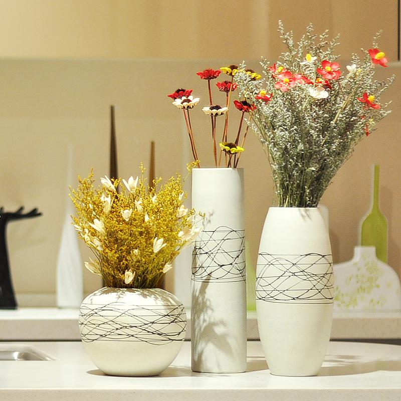君凯陶瓷现代欧式三件套陶瓷花瓶 居家装饰品 饰品摆件 工艺品