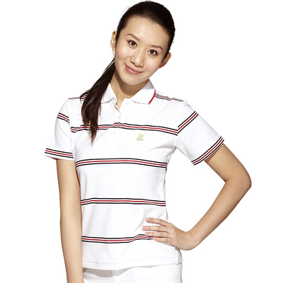 Short-sleeved T-shirt Slim female models sunscreen Golf Apparel / simple beauty anti-UV striped T-shirt dress Paradigm