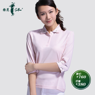 Long-sleeved T-shirt Ladies Golf Apparel Egyptian cotton / peach pink jacquard plus printed sleeve