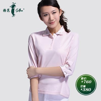 Long-sleeved T-shirt Ladies Golf Apparel Egyptian cotton / peach pink jacquard plus printed sleeve