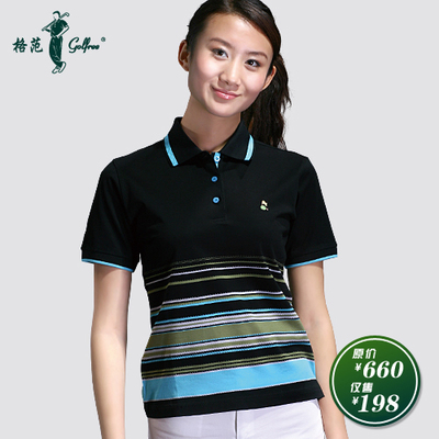 Paradigm golfree mercerized cotton short-sleeved women / Classic black and blue striped T-shirt golf apparel