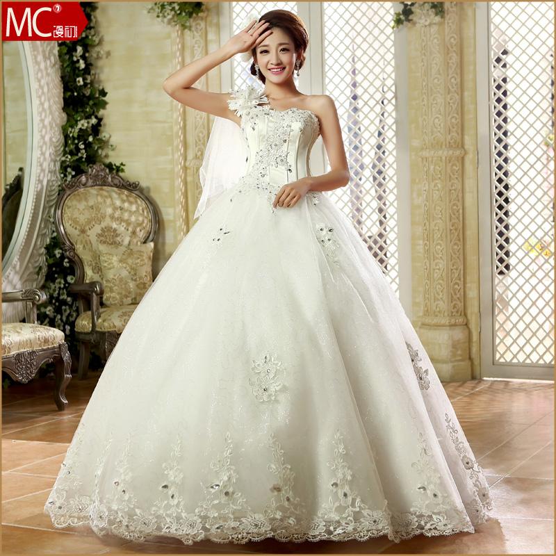 漫初2013新款婚纱礼服 时尚单肩水钻齐地婚纱 甜美新娘冬季婚纱