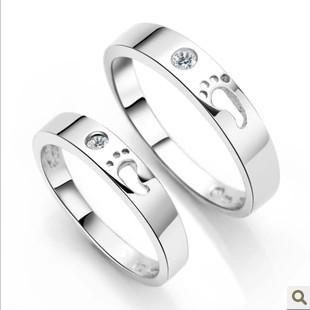 免费刻字925纯银戒指情侣对戒 爱的足迹脚印脚丫情侣戒指韩版钻戒