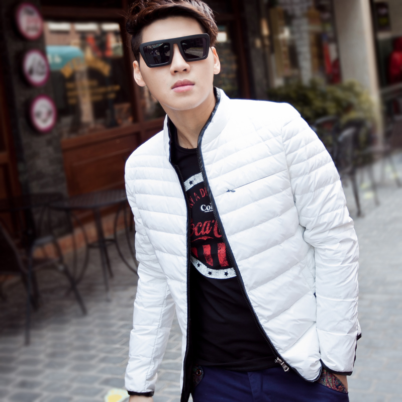 青少年潮男男装_冬装新款男装保暖外套青少年学生韩版修身男士立领潮男羽绒服外衣