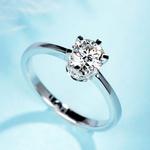 宝石矿工 18k白金经典六爪时尚钻戒 GIA结婚订婚钻石戒指定制