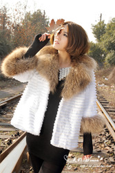 Striped raccoon fur collar rabbit fur coat trimmed