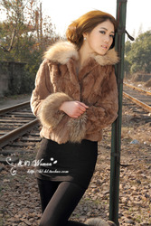 Rabbit fur coat raccoon fur collar