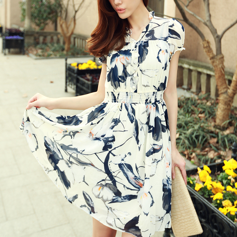 Women short sleeve chiffon dress