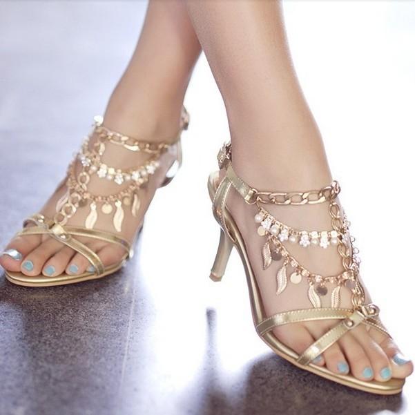 女凉鞋新款2013金色羊皮凉鞋细高手工串珠水钻真皮女凉鞋新娘婚鞋