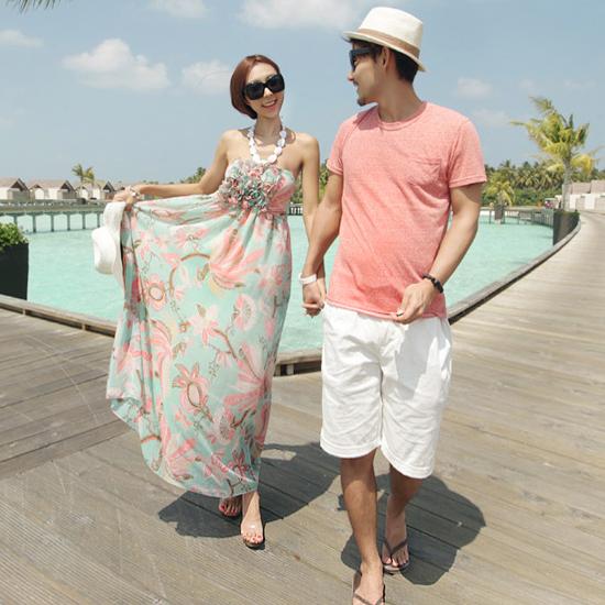 Женское платье Корея покупке любителей повесить шеи цветочные трубки Топ платье летом пляж отпуск для новобрачных платья пляж Свадебные фотографии