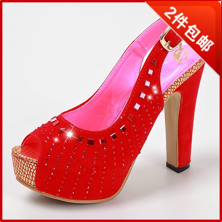 新款女婚鞋结婚季红色婚鞋婚宴鞋新款婚鞋凉鞋高跟婚鞋新娘鞋结婚鞋