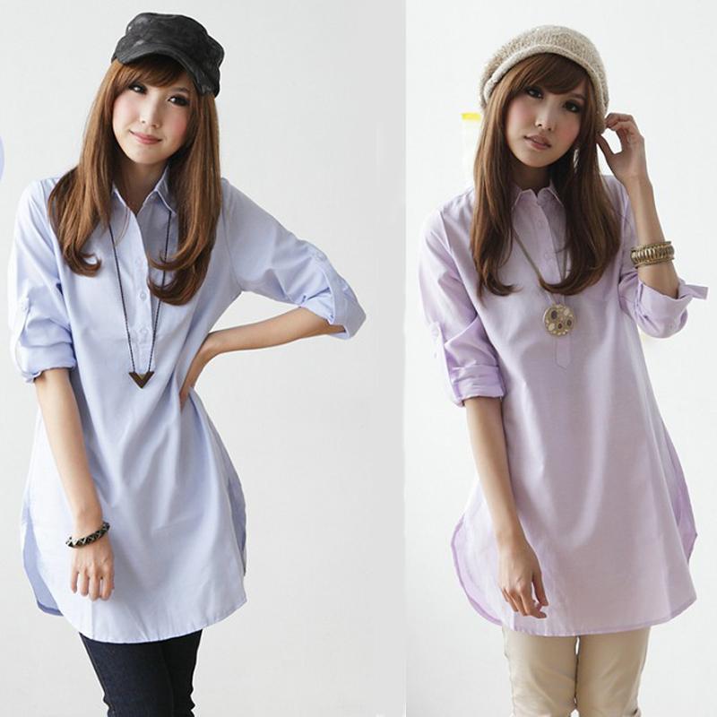 женская рубашка Прилива 2013 новых корейской версии женщин летние платья большой размер блузка длинный участок британский рубашку с длинными рукавами свободные повседневная рубашка Повседневный Длинный рукав Однотонный цвет 2013 года Отложной воротник