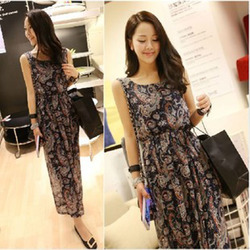 Korean style retro print chiffon beach dress vest dress