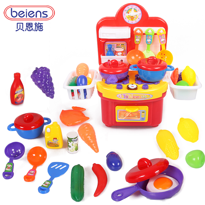 Beienshi multifunctional simulation Dinnerware combo set with the music, the lights in the kitchen for children play house toy