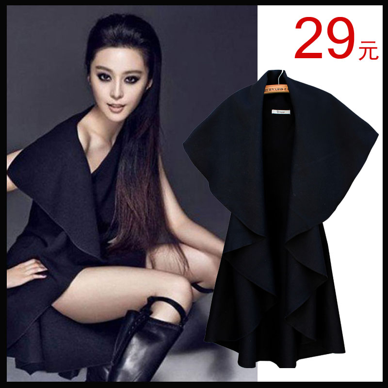 2013 new spring European temperament Barret sleeveless loose cloak Cape shawl coat plus size vest coat
