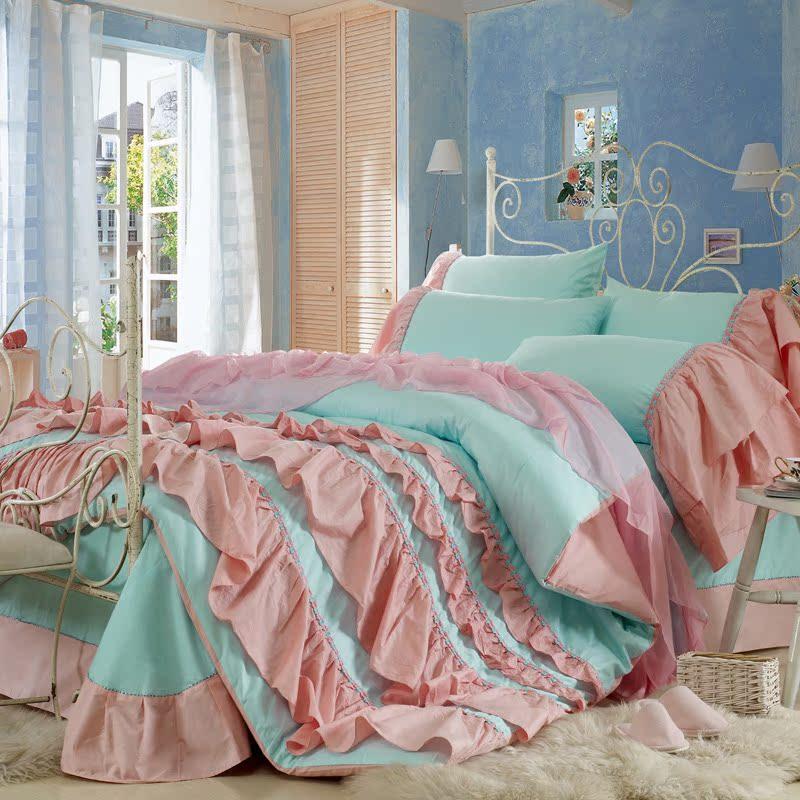 趣美家正品 韩版公主纯棉四件套 全棉床上用品套件1.8米特价包邮