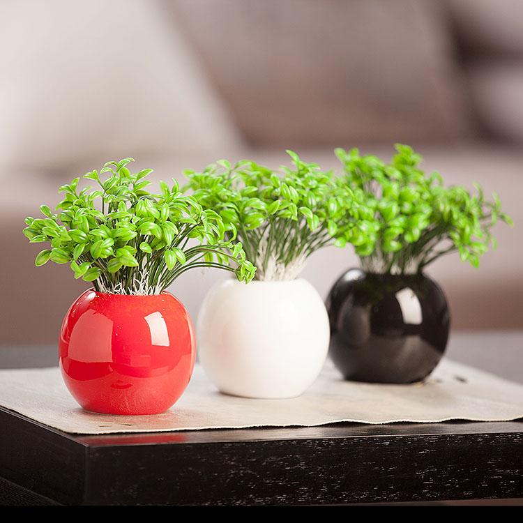 贝汉美陶瓷 家居家饰 纯色极简圆球豆芽小花瓶 结婚装饰品摆件