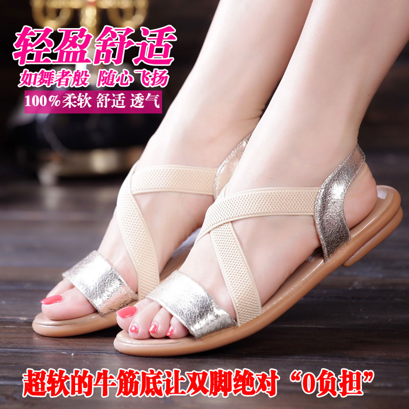 Poly Ai Nai micro-leather comfort Sandals leather end of first layer leather flat tendon flat casual sandals