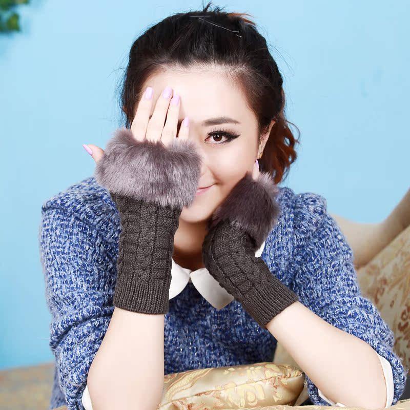 半指手套 女 冬季 中长保暖毛线半截手套 女士露指仿兔毛手套可爱